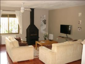Lower lounge with wood burner