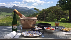 lunch on terrace with a view