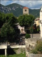 Market place and cafes in Quillan