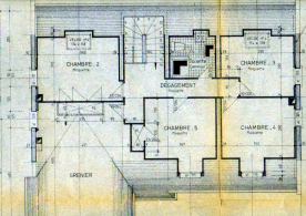 Architect's drawings of upper floor