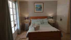 Terraced bedroom easily fits a king size bedstead