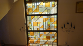 Stained glass window in TV room