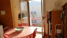 The kitchen, with the view of the Maiella in the background.