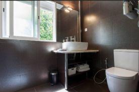 Bathroom sink, toilet, wooden shelves under sink and WC hand-held douche