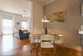 Open plan dining room with alternative arrangement in living room