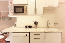 Kitchen sink worktop with dishwasher and microwave