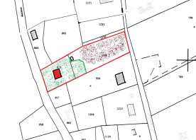 Siteplan showing boundaries in red and proximity of neighbouring houses.