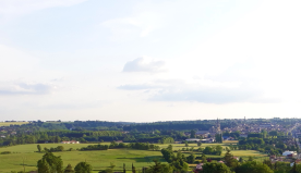 Balcony view of the surrounding countryside and town