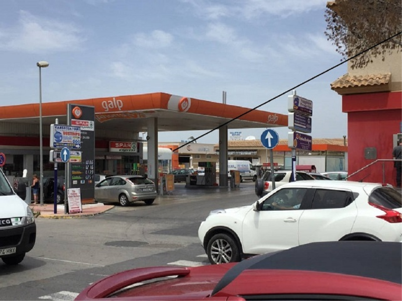 Petrol station near to the town door