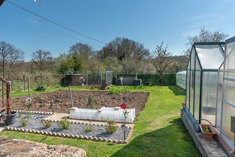 Vegetable plot with 2 green houses, poly tunnel and chicken run