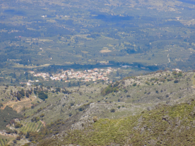 View of Fres village from the high mountains - the property is just out of shot on the right