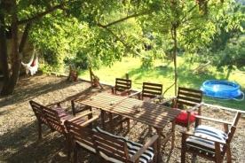 The terrace, under the walnut tree