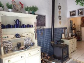 Kitchen with additional log burner