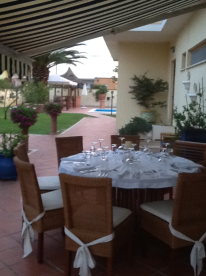Dining area at the front of the Villa