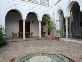 The patio and fountain
