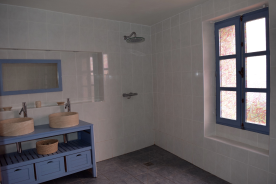 Farmhouse shower and toilet
