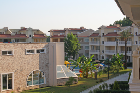 view of pool complex from balcony