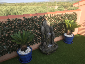 Roof Garden, water feature and View over Olive Groves