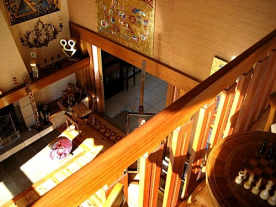 view from the mezzanine library onto the living room