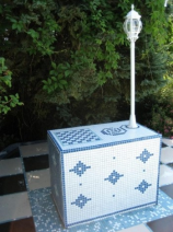 artwork lamp table with chessboard