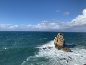 Rock at Peniche with Berlenga Islands