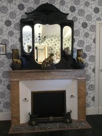 B&W bedroom fireplace