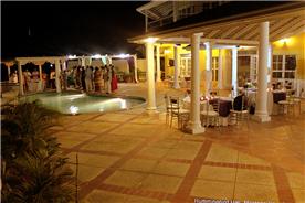 Infinity pool deck at night