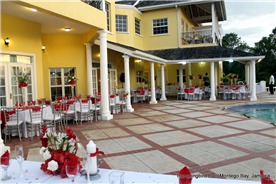 Infinity pool deck decorated for a wedding