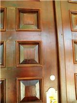 Closeup of handmade front door
