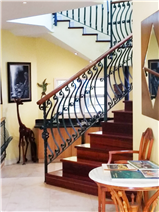 Staircase with hardwood floors