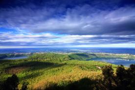 panorama with Lake Nemi and Lake Castel Gandolfo