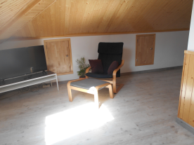 First floor living room showing access doors to storage area
