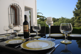 Dining at it's best on the rear upper terrace