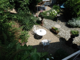Aerial view of the garden from the top terrace