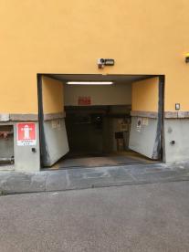Entrance to underground parking area off Villa on Via Del Seminario