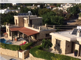 Ariel view Balmoral Villa and 1 bedroomed cottage. Orange tree at front side of Cottage.