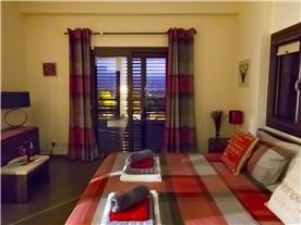 Master bedroom at dusk, Balmoral Villa.