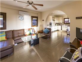 Open plan lounge and kitchen area, Balmoral Villa.