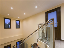 Contemporary glass and stainless steel hand rails Balmoral Villa.