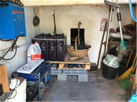 Inside the bread oven with solar installation.