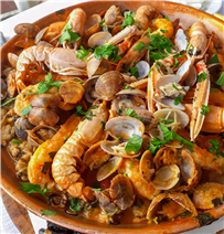Enjoy one of many seafood dishes.