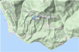 Google terrain map showing location of the house and proximity to Pollica and the sea.