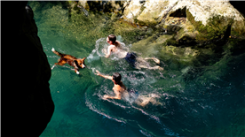 Swimming in a montain gorge in the Cilento National Park