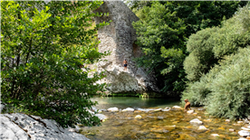 About to jump in the icy cold water of the river Calore, on a summer walk in the Cilento
