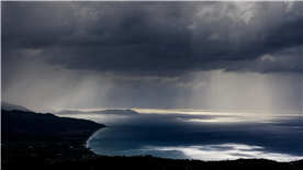 View from Pollica down to Palinuro during a Mediterranean storm
