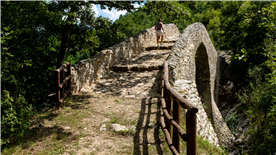 A bridge over the river calore, on a walk in the Cilento National Park