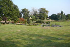 property at the back with left behind a pond