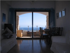 View to the balcony and Mediterranean Sea.