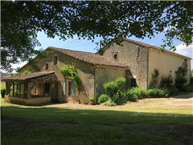 Main Stone house with attached guest house and veranda
