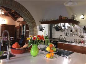 kitchen and woodfire range